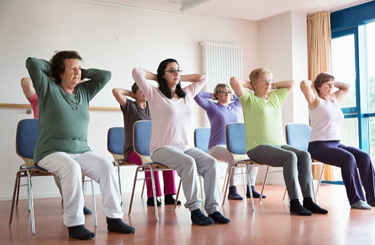 Chair yoga for wheelchair bound seniors
