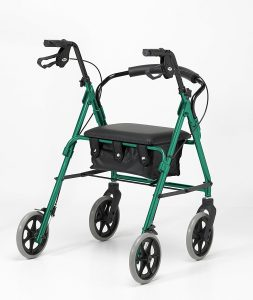 Days four wheel green walker mobility aid