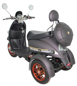 Green Power 3 Wheeled Retro Style Electric Mobility Scooter (Black) Rear