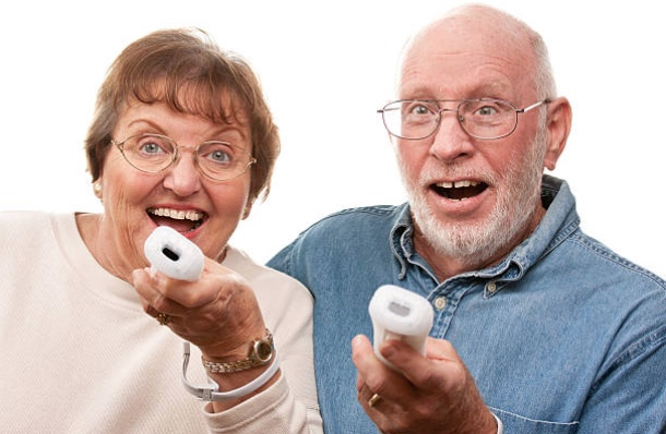 Seniors playing the wii console