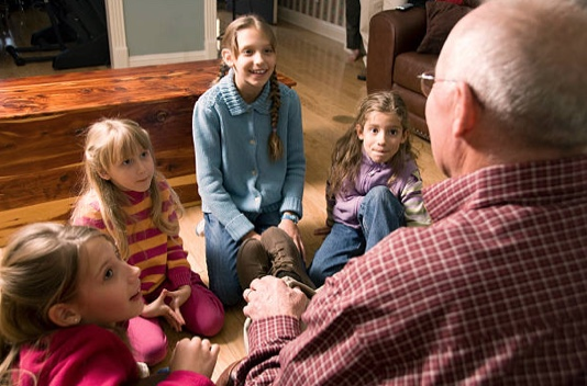 Show and tell game with grandchildren